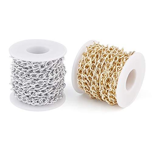 Cheriswely, catena a maglia barbazzale in alluminio, non saldata, con rocchetto per gioielli e collane, lunghezza totale 10 m