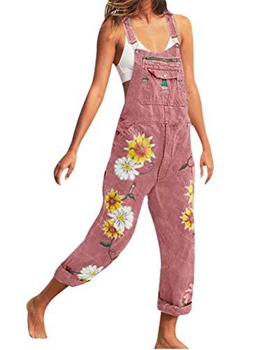 Onsoyours Salopette Pantaloni Ragazza, Donna Jeans Sciolto Overall Lunga Dungarees Tuta Denim Casual Pantaloni Bavaglino Jumpsuit Moda Hippie Cinturino A Rosa Large