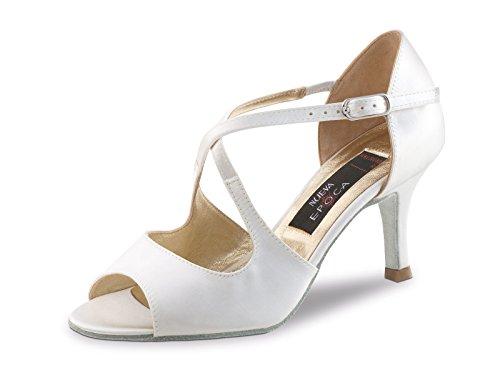 Nueva Epoca - Scarpe da sposa / da ballo / ballo, 6 cm, colore: bianco satinato, Bianco (bianco), 41 EU