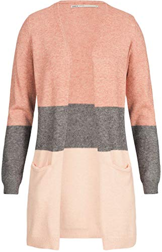 Only Onlqueen L/s Long Cardigan Knt Noos, Multicolore (Misty Rose Stripes:W. MGM/Cloud Pink Melange), 42 (Taglia Produttore: Small) Donna