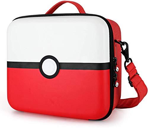 Custodia per Switch & Switch OLED, Case da Viaggio Rigido Protettiva con 21 Cartucce di Gioco, Pokémon Pokeball Design, Compatibile con Switch Console e Accessori (Rosso & Bianco)