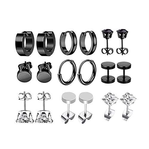 JZZJ 9 paia orecchini in acciaio inossidabile piccoli orecchini a cerchio zircone classico gioielli piercing all'orecch()