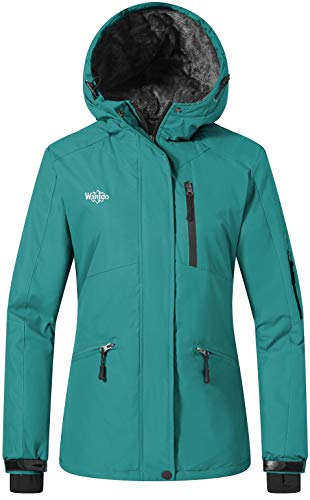 Wantdo Giacca da Sci Impermeabile Giacca Outdoor Primaverile Parka in Pile Imbottita Calda Jacket for Work with Hooded Warm Donna Blu Scuro XL