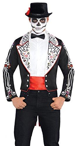amscan- Day of The Dead Halloween Costume da Coda, Colore Nero, Size: 41-43, 843933