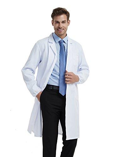 BSTT Uomo Camice da Laboratorio Bianca Abbigliamento da Lavoro e Divise Nuovo miglioramento Maniche Elastiche Sottile XXL