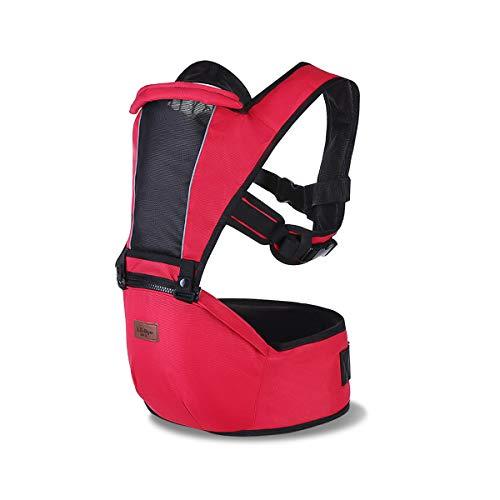 SONARIN 2021 Premium Hipseat Baby Carrier, anteriore, Orizzontale, Multifunzionale,Ergonomico,6 portanti, sicuro e comodo,Adattato al crescere del tuo bambino(Rosso)