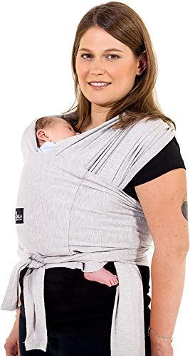 Fascia porta bambino facile da indossare (easy on), regolabile unisex - Marsupio neonati multiuso adatto fino a 10kg - Fascia porta bebe - Grigio Chiaro - Design Registrato KBC¨