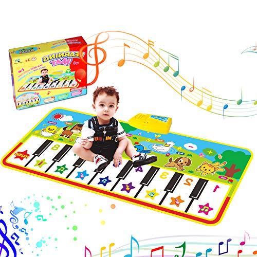 RenFox Tappeto Musicale Bambini, Tappetini Pianoforte con 8 Suoni di Animali e 9 Melodie Tappetini Musicale Strumento Tappeto Danza Musicale Tocco Mat Bambini Educativo Giocattolo (135 x60cm)