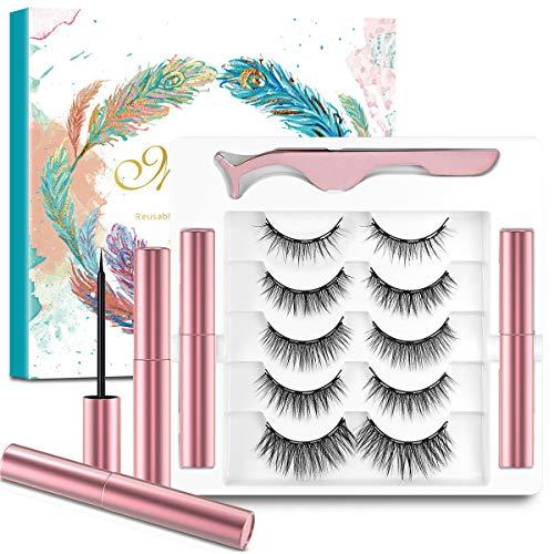5 Paia di Ciglia Magnetiche con Eyeliner,Ciglia Magnetiche,Incluse 1 Pinza e 2 Magnetico Eyeliner,Senza Colla e Riutilizzabili,Ciglia Finte Magnetiche 3D Naturali,Impermeabili e Resistenti Macchie