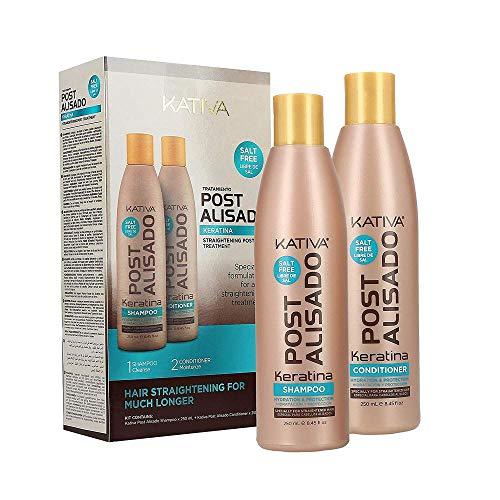 Kativa - Kit Mantenimento Stiratura Brasiliana con Shampoo e Balsamo - Trattamento Intensivo Protettivo e Riparatore con Cheratina e Arginina - Formula Senza Formaldeide, Senza SLS e SLES