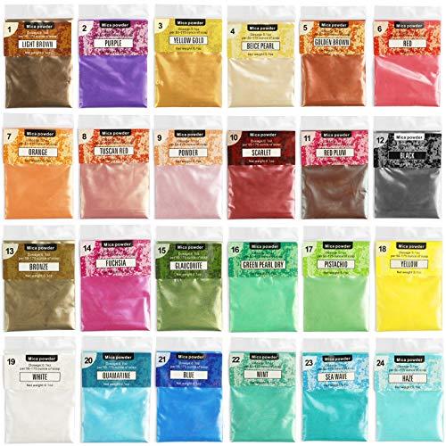NOSTOSON Polvere di Mica, 24 Colori di Polvere di Pigmento di Mica per Fare Resina Epossidica, Sapone, Melma, Lucidalabbra, Candela