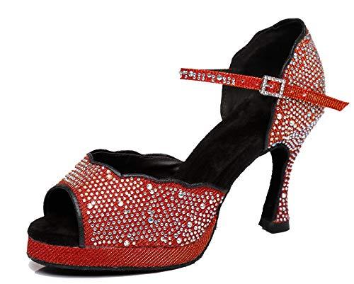 MINITOO L391 L391 - Scarpe da ballo da sposa con plateau, Rosso (Tacco rosso 3 55), 39 EU