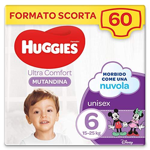 Huggies Ultra Comfort Pannolini Mutandina, Taglia 6 (15-25 Kg), Confezione da 60 Pannolini Mutandina