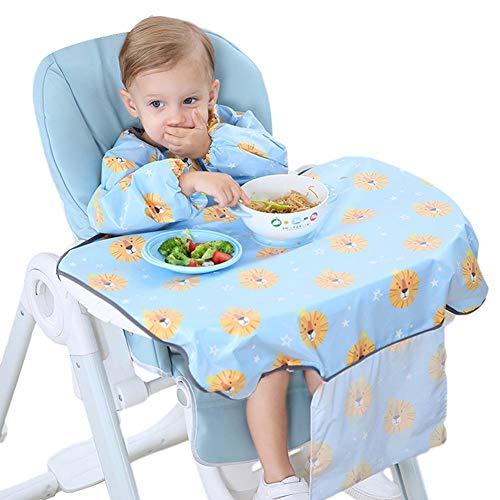 Wonderday - Bavaglino impermeabile per lo svezzamento, si attacca al seggiolone, a maniche lunghe, per lo svezzamento del bambino, per BLW Baby led svezzamento