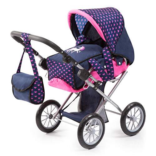Bayer Design 13654AA Carrozzina per bambole City Star regolabile con unicorno, Blu / Rosa