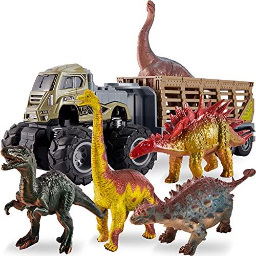 kimonca Dinosauri Macchinine Camion Trasportatore Giocattoli Animali Figurine con Stegosauro Brachiosauro Regalo per 3 4 5 Anni Bambini