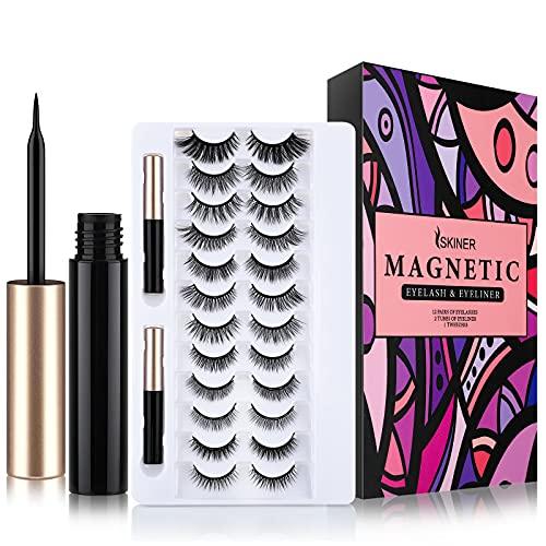 [12 Paia] Ciglia Magnetiche con Eyeliner Magnetico, 3D Ciglia Finte Magnetiche Riutilizzabili Naturali e 2 Eyeliner Impermeabile con Pinzette, Nessuna Colla Necessaria