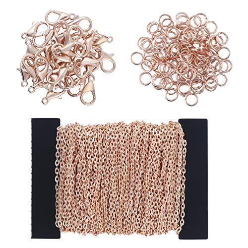 Coolty 39 Piedi / 13 Iarde Collana a catena placcata con 30 moschettoni e 100 anelli di salto per collane, gioielli, accessori fai da te (Oro rosa)