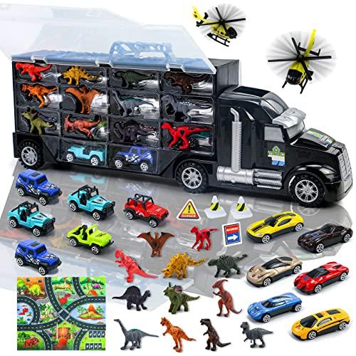 Camion Macchinine Giocattolo per Bambini con 12 Dinosauri Giocattolo 2 Aereo 12 Macchinine 1 Tappeto Gioco Bambini Dinosauri World Giochi Educativi Regalo per Bambini 3 4 5 6 Anni