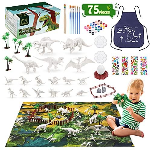 Gemeer Kit Pittura Dinosauro per Bambini, 75 Pezzi Figurine Giocattoli di Dinosauro Fai-da-Te ,Con adesivi, Tuta Animale per Pittura su tela, Pittura Lavabile e Ripetibile