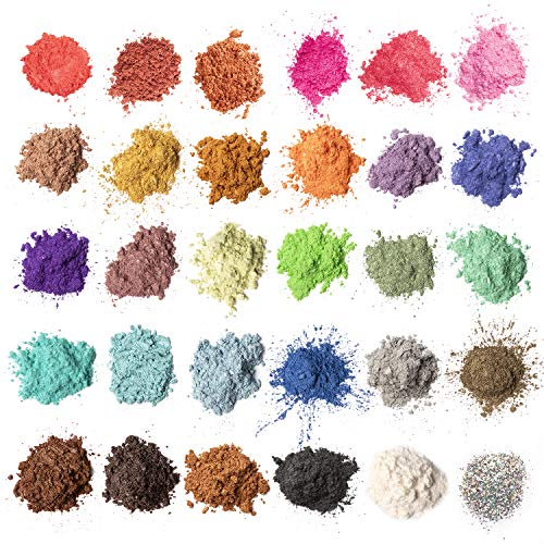 MENNYO Pigmenti Coloranti Naturale, 5g*30 Colori Mica Polvere Colorante per Sapone, Slime, Resina Epossidica, Candele, Bomba da Bagno, Acqua, Cosmetici, Pittura, Feste