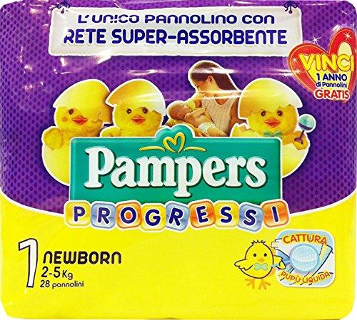 PAMPERS Pannol.B.Progressi Newborn Taglia '1' 2-5 Kg 28 Pz