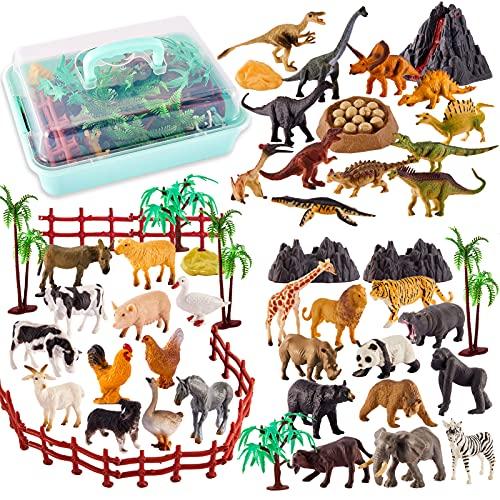TOEY PLAY 3 in 1 Mini Animali Giocattolo con Dinosauri Giungla Fattoria per Bambini Plastica Figure Animali Set Giochi Educativi Regalo Bambino 3 4 5 Anni